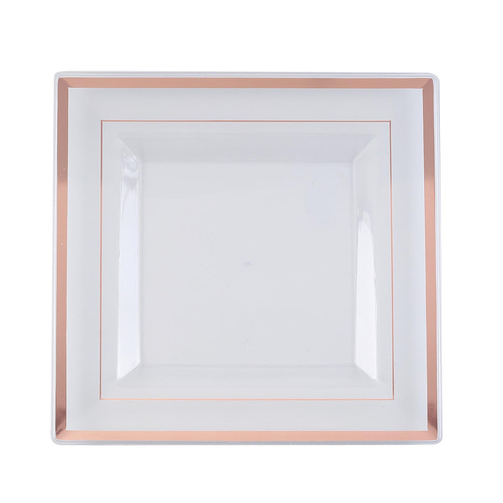 Square Dinner Plates With Shiny Rose Gold Rim Clear Plastic Plates Party Plates Tableclothsfactory