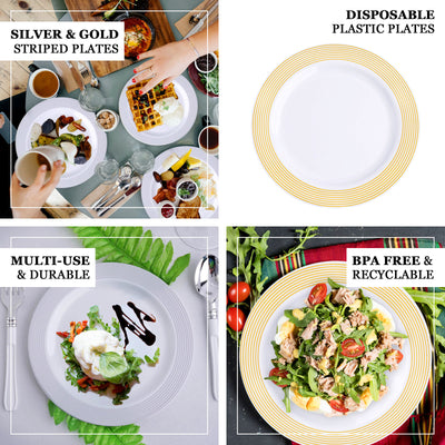 "10 Pack | 8"" White Round Plastic Disposable Salad Dessert Plates with Silver Striped Rim - Clearance SALE"