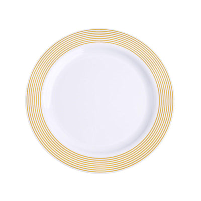 "10 Pack 8"" Gold Striped Rim White Plastic Disposable Salad Dessert Plates"