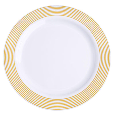 "10 Pack 10"" White Plastic Disposable Round Dinner Plates with Gold Striped Rim"