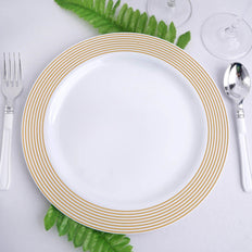 "10 Pack 10"" White Round Plastic Disposable Dinner Plates with Gold Striped Rim"