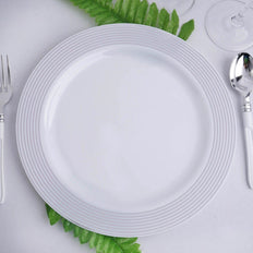 "10 Pack 10"" White Round Plastic Disposable Dinner Plates with Silver Striped Rim"
