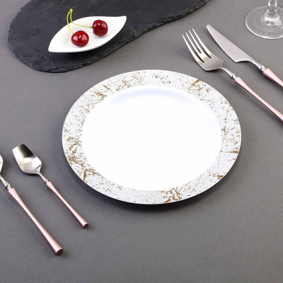 "10 Pack 9"" White Round Disposable Plastic Dinner Plates with Silver Marble Hot Stamped Rim"