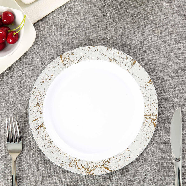"10 Pack 9"" White Round Disposable Plastic Dinner Plates with Silver Marble Hot Stamped Rim - Clearance SALE"