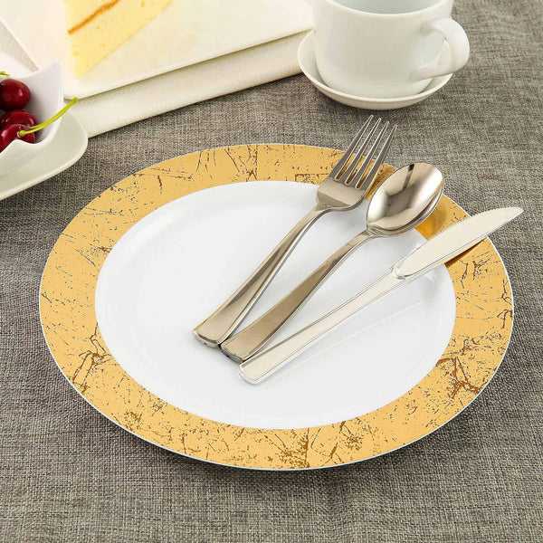 "10 Pack 10"" White Round Disposable Plastic Dinner Plates with Gold Marble Hot Stamped Rim - Clearance SALE"