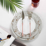 "10 Pack 10"" White Disposable Round Dessert Salad Plates with Silver Marble Hot Stamped Rim"