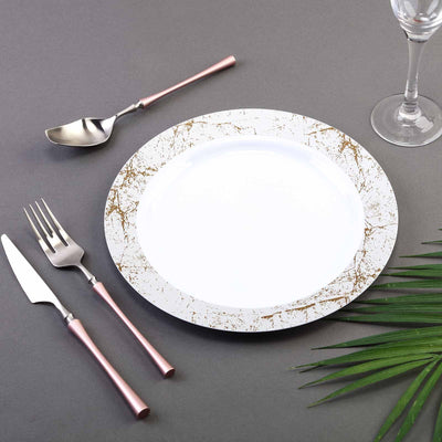"10 Pack 10"" White Round Disposable Plastic Dinner Plates with Silver Marble Hot Stamped Rim"