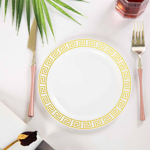 "10 Pack 8"" White Plastic Disposable Dessert Salad Plates with Geometric Design Hot Stamped Gold Rim"
