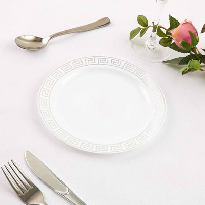 Plastic Dessert Plates, Disposable Salad Plates With Silver Rim