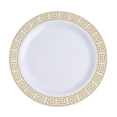 "10 Pack 9"" White Plastic Disposable Dinner Plates with Geometric Design Hot Stamped Gold Rim"