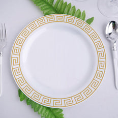 "10 Pack 9"" White Round Plastic Disposable Dinner Plates with Geometric Design Hot Stamped Gold Rim"