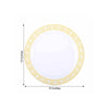 "10 Pack 10"" White Round Plastic Disposable Dinner Plates with Geometric Design Hot Stamped Gold Rim"