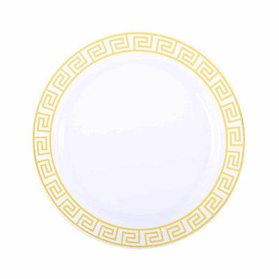 "10 Pack 10"" White Plastic Disposable Round Dinner Plates with Geometric Design Hot Stamped Gold Rim"