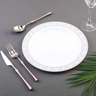 "10 Pack 10"" White Plastic Disposable Round Dinner Plates with Geometric Design Hot Stamped Silver Rim"