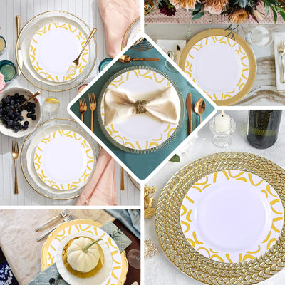"10 Pack | 9"" White Round Plastic Dinner Plates 