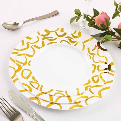 "10 Pack 8"" White Disposable Round Dessert Salad Plates with Gold Abstract Hot Stamped Rim"