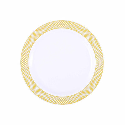 "10 Pack 8"" White Disposable Round Salad Dessert Plate With Gold Checkered Rim"