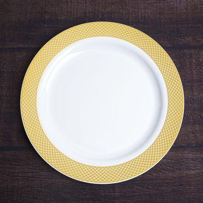 "10 Pack 9"" White Disposable Round Dinner Plate With Gold Checkered Rim"