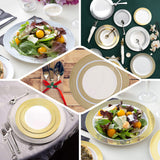 "10 Pack 10"" White Round Disposable Plastic Dinner Plates With Gold Diamond Rim"