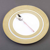 10 Pack 10 inch White Round Disposable Plastic Dinner Plates With Gold Diamond Rim