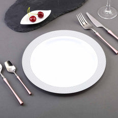 10 Pack 10 inch White Round Disposable Plastic Dinner Plates With Silver Diamond Rim