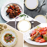 "10 Pack | 8"" White Round Plastic Disposable Dessert Salad Plates with Silver Scalloped Hot Stamped Rim"