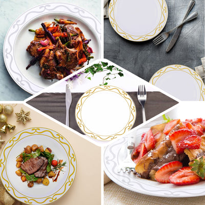 "10 Pack | 8"" White Round Plastic Disposable Dessert Salad Plates with Gold Scalloped Hot Stamped Rim"