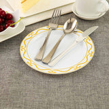 "10 Pack 8"" White Plastic Disposable Dessert Salad Plates with Gold Scalloped Hot Stamped Rim"