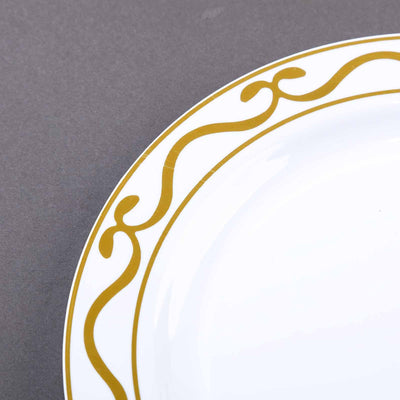 Salad Plate with Scallop Design Gold Rim, Dessert Plates, Plastic Dinnerware