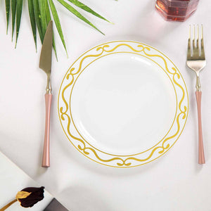 "10 Pack 8"" White Plastic Disposable Round Dessert Salad Plates with Gold Scalloped Hot Stamped Rim"