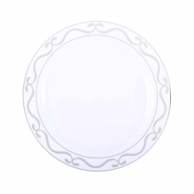 "10 Pack 10"" White Plastic Disposable Round Dinner Plates with Silver Scalloped Design Hot Stamped Rim"