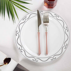 10 inch White Round Plastic Disposable Dinner Plates with Silver Scalloped Design Hot Stamped Rim