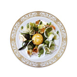 "10 Pack 8"" White Disposable Round Salad Dessert Plate With Heritage Gold Lace Rim"
