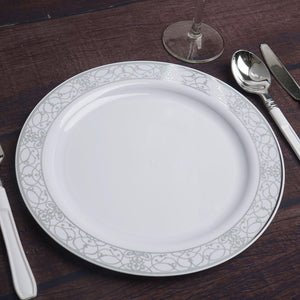 "10 Pack 9"" White Disposable Round Dinner Plate With Heritage Silver Lace Rim"