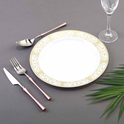 10 Pack 10 inch White Round Disposable Plastic Dinner Plate With Heritage Gold Lace Rim