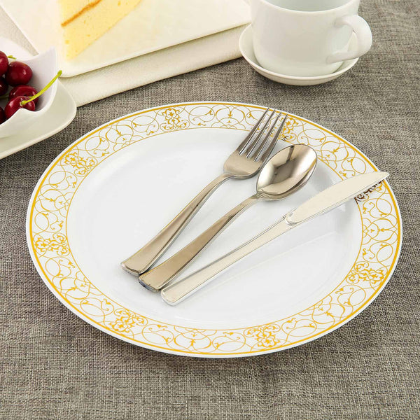 "10 Pack 10"" White Round Disposable Plastic Dinner Plate With Heritage Gold Lace Rim - Clearance SALE"