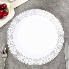10 Pack 10 inch White Round Disposable Plastic Dinner Plate With Heritage Silver Lace Rim