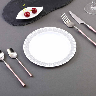 "10 Pack 8"" White Plastic Disposable Dessert Salad Plates with Silver Ornament Hot Stamped Rim"