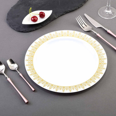 "10 Pack 10"" White Plastic Disposable Round Dinner Plates with Gold Ornament Hot Stamped Rim"