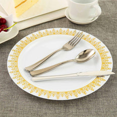 10 Pack 10 inch White Round Plastic Disposable Dinner Plates with Gold Ornament Hot Stamped Rim