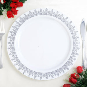 "10 Pack 10"" White Plastic Disposable Round Dinner Plates with Silver Ornament Hot Stamped Rim"