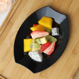 "10 Pack 6"" Black Disposable Oval Crescent Rim Salad Dessert Plates"