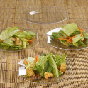 "10 Pack 6"" Clear Disposable Oval Crescent Rim Serving Plates"
