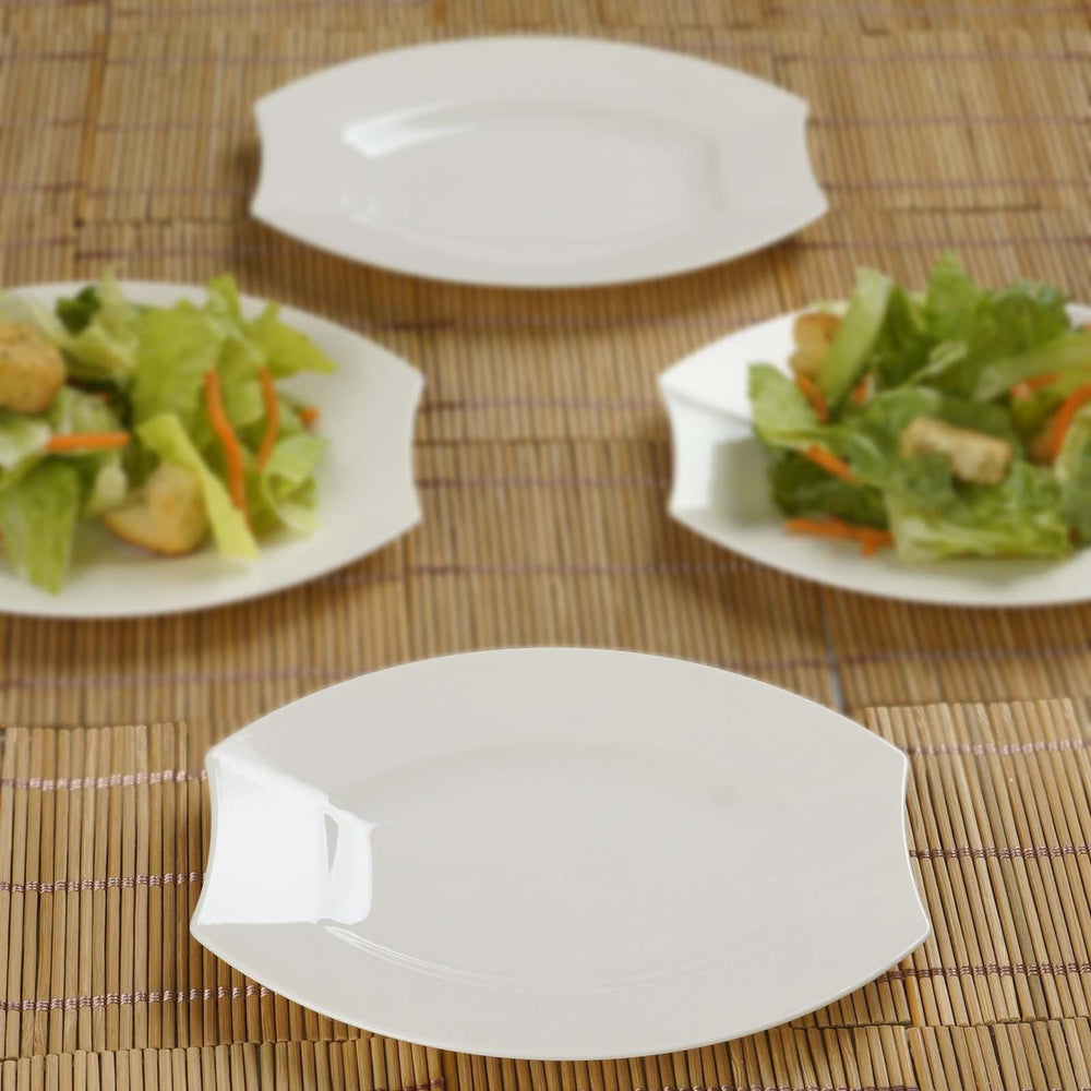 10 Pack - Ivory 6  Crescent Oval Shaped Disposable Plate - Chambury Plastics ... & 10 Pack - Ivory 6