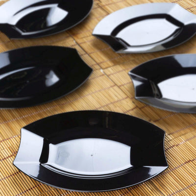 Black Disposable Plastic Oval Plates, Salad Plates, Plastic Dinnerware