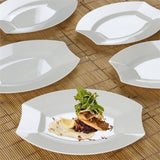 "10 Pack 8"" Ivory Disposable Oval Crescent Rim Serving Plates"