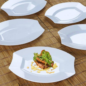 "10 Pack 8"" White Disposable Oval Crescent Rim Serving Plates"