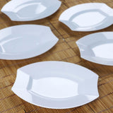 "10 Pack - White 7.5"" Crescent Oval Shaped Disposable Plate  - Chambury Plastics"