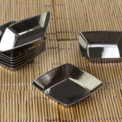 "24 Pack 2"" Silver Diposable Plastic Square Mini Salad Dessert Plates"