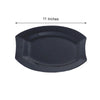 "10 Pack 11"" Black Disposable Plastic Oval Crescent Rim Serving Plates"
